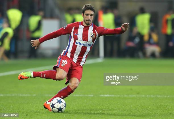 Sime Vrsaljko of Atletico Madrid controls the ball during the UEFA Champions League Round of 16 first leg match between Bayer Leverkusen and Club...