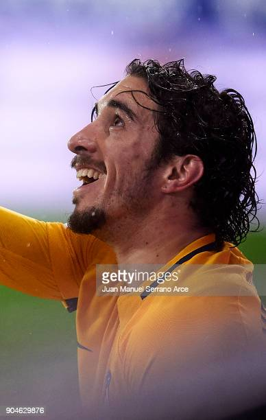 Sime Vrsaljko of Atletico Madrid reacts during the La Liga match between SD Eibar and Atletico Madrid at Ipurua Municipal Stadium on January 13 2018...
