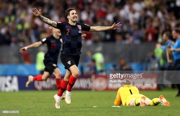 Sime Vrsaljko of Croatia celebrates victory following the 2018 FIFA World Cup Russia Semi Final match between England and Croatia at Luzhniki Stadium...