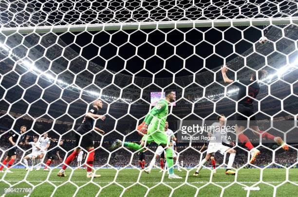 Sime Vrsaljko of Croatia clears the ball during the 2018 FIFA World Cup Russia Semi Final match between England and Croatia at Luzhniki Stadium on...