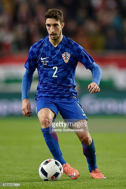 Sime Vrsaljko of Croatia in action during the International Friendly match between Hungary and Croatia at Groupama Arena on March 26 2016 in Budapest...