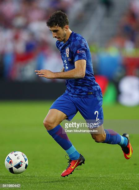 Sime Vrsaljko of Croatia in action during the UEFA EURO 2016 Group D match between Croatia and Spain at Stade Matmut Atlantique on June 21 2016 in...