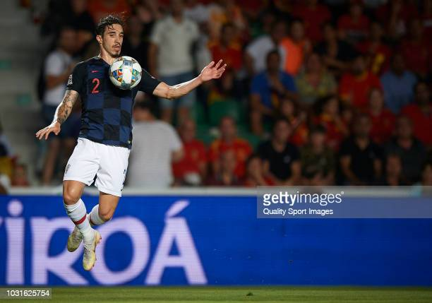 Sime Vrsaljko of Croatia in action during the UEFA Nations League A group four match between Spain and Croatia at Estadio Manuel Martinez Valero on...