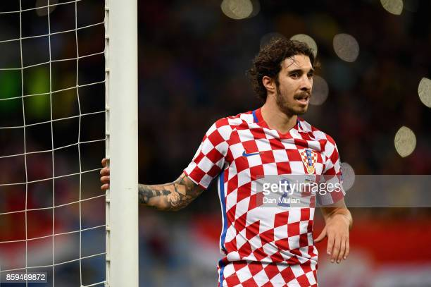 Sime Vrsaljko of Croatia looks on during the FIFA 2018 World Cup Group I Qualifier between Ukraine and Croatia at Kiev Olympic Stadium on October 9...