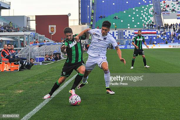 Sime Vrsaljko Sassuolo's defender fights for the ball with Joaquin Correa Unione Calcio Sampdoria's midfielder during the US Sassuolo Calcio versus...