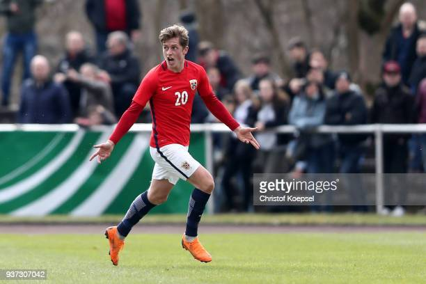 Simen Bolkan Nordli of Norway celebrates the fifth goal during the UEFA Under19 European Championship Qualifier match between Germany and Norway at...