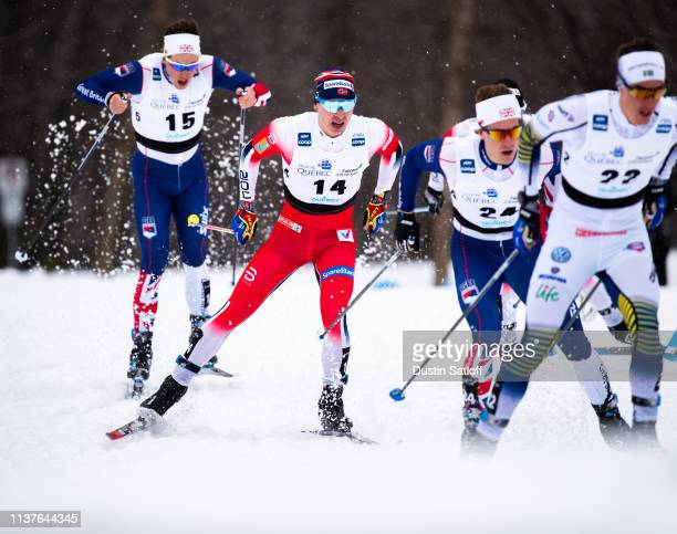 Simen Hegstad Krueger of Norway competes in the sprint quarterfinal heat during the FIS Cross Country Ski World Cup Final on March 22 2019 in Quebec...