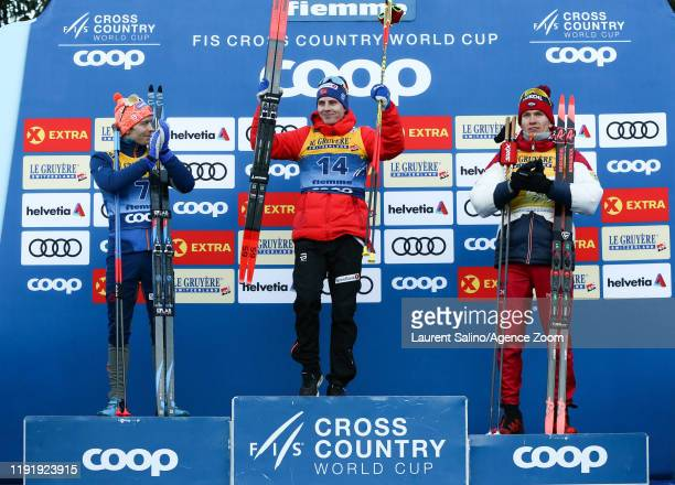Simen Hegstad Krueger of Norway takes 1st place, Sjur Roethe of Norway takes 2nd place, Alexander Bolshunov of Russia takes 3rd place during the FIS...