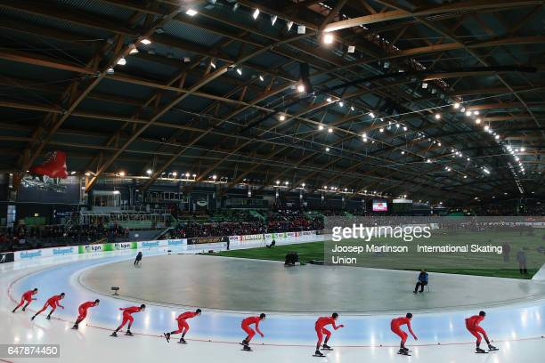 Simen Spieler Nilsen of Norway competes in the Men's 5000m during day one of the World Allround Speed Skating Championships at Viking Skipet Hamar...