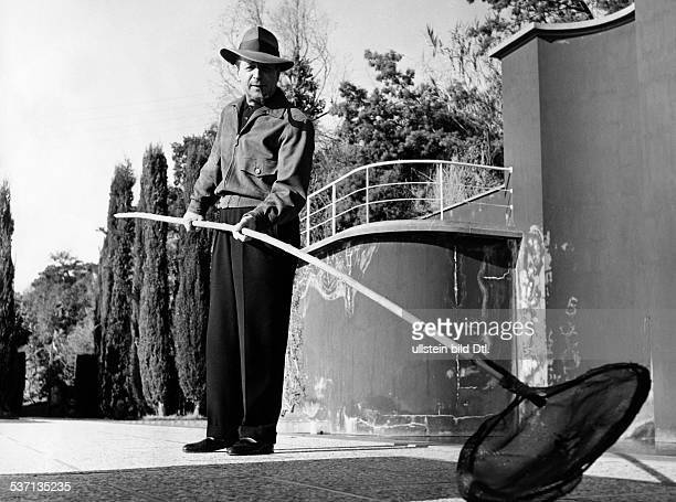 Simenon, Georges , Schriftsteller, Belgien, - bei der Arbeit in seinem Garten, - 1957