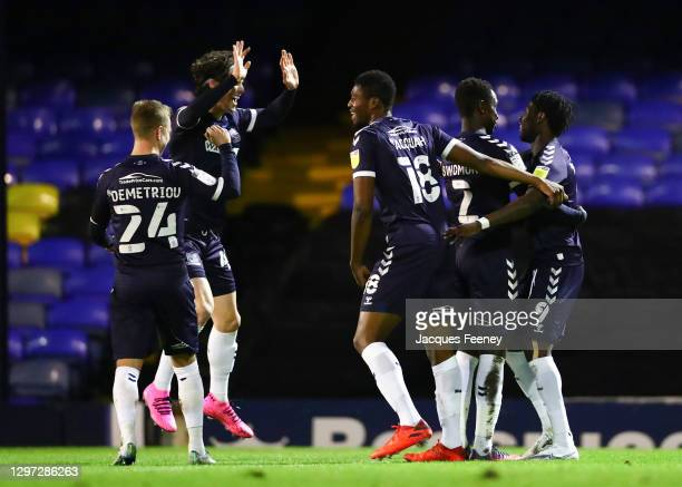 Simeon Akinola of Southend United celebrating his teams first goal with Sam Hart of Southend United during the Sky Bet League Two match between...