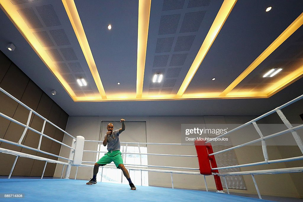 Simeon Chamov of Bulgaria warms up in a training session during the Olympics preview day - 2 at Rio Centro on August 3, 2016 in Rio de Janeiro, Brazil.