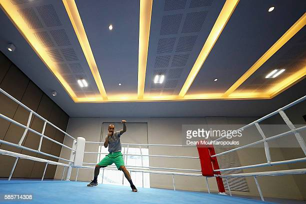 Simeon Chamov of Bulgaria warms up in a training session during the Olympics preview day - 2 at Rio Centro on August 3, 2016 in Rio de Janeiro,...