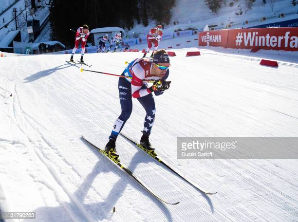 Simeon Hamilton of the United States competes in the Cross Country Men's Team Sprint semifinal race during the FIS Nordic World Ski Championships on...