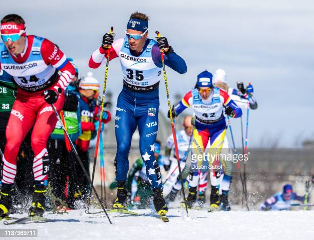 Simeon Hamilton of the United States competes in the Men's 15km freestyle pursuit during the FIS Cross Country Ski World Cup Final on March 24, 2019...