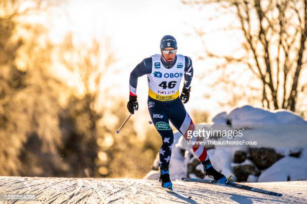 Simeon Hamilton of USA competes during the Men's 15km free at the Coop FIS Cross-Country World Cup Falun at on January 29, 2021 in Falun, Sweden.