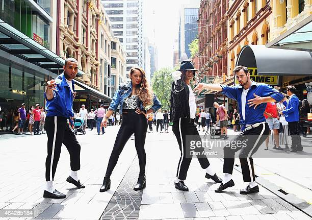 Simeon Henri Prinnie Stevens Sean Christopher and Joe Drum pose during a Michael Jackson 'Moonwalking' demonstration at Pitt St Mall on February 24...
