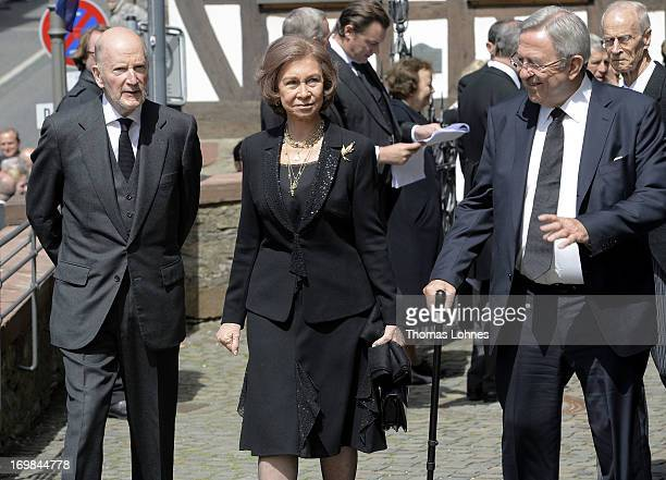 Simeon SaxeCoburgGotha Queen Sofia of Spain and the former King Constantine of Greece attend the funeral service of Moritz Landgrave of Hesse at...