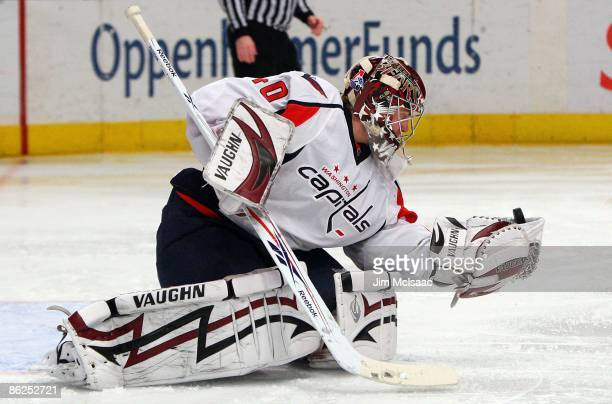 Simeon Varlamov of the Washington Capitals makes a save against the New York Rangers during Game Four of the Eastern Conference Quarterfinal Round of...