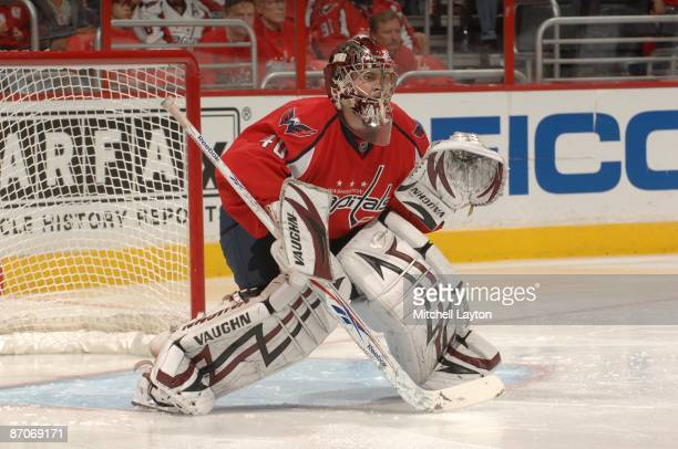 Simeon Varlamov of the Washington Capitals prepares for a save during Game Five of the Eastern Conference Semifinals of the 2009 NHL Stanley Cup...