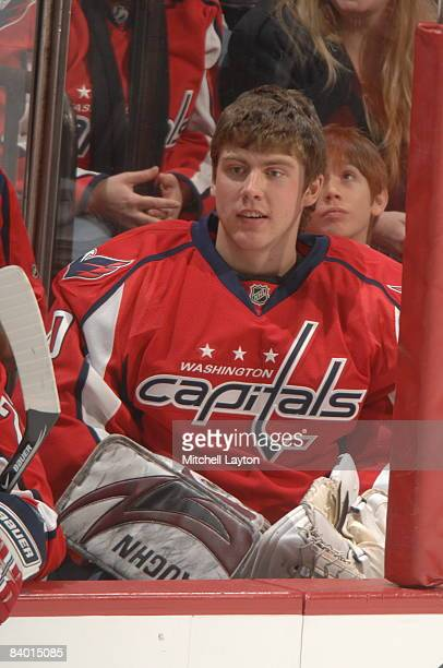 Simeon Varlamov of the Washington Capitals watches the action during his first NHL hockey game against the Ottawa Senators on December 12 2008 at the...
