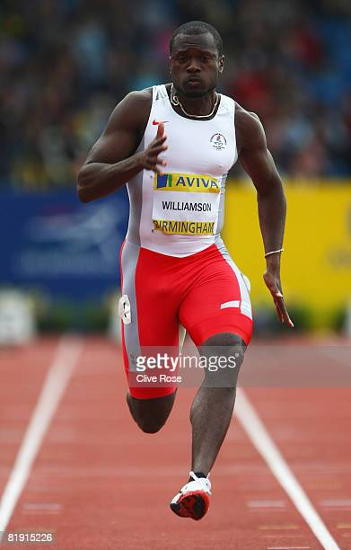Simeon Williamson of Great Britain runs on his way to winning his Mens 100m Semi Final during the Aviva National Championships Olympic Trials at...