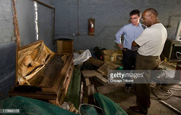 Simeon Wright right cousin of Emmett Till and Cook County sheriff Thomas Dart view the original casket of Emmett Till held in a storage room at Burr...