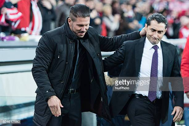 Simeone and Valverde in the match between Athletic Bilbao and Athletico Madrid for Week 16 of the spanish Liga BBVA played at the San Mames December...