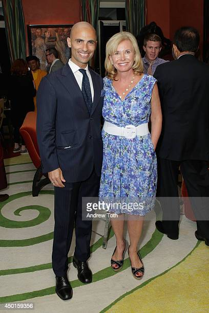 Simeone Scaramozzino and Sharon Bush attend a reception at Ghislaine Maxwell's residence after StarTalk Live Water World Panel Discussion on June 5...