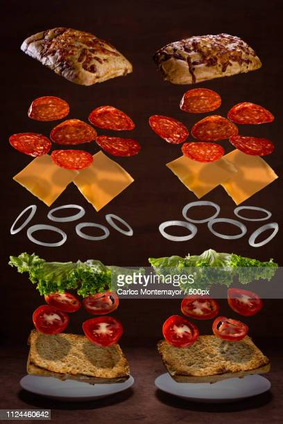 simetria sandwich de peperoni. - simetria stock photos and pictures