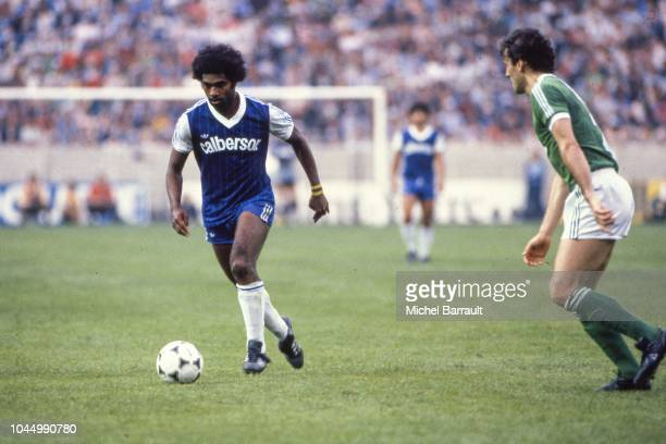 Simey Ihily of Bastia during the French national cup final match between Bastia and St Etienne at Parc des Princes Paris France on June 13 1981