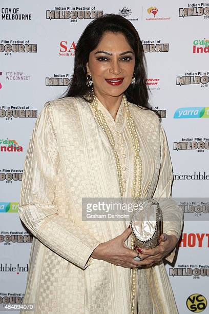 Simi Garewal poses as she arrives at the Indian Film Festival of Melbourne Awards Night at the National Gallery of Victoria on August 15 2015 in...