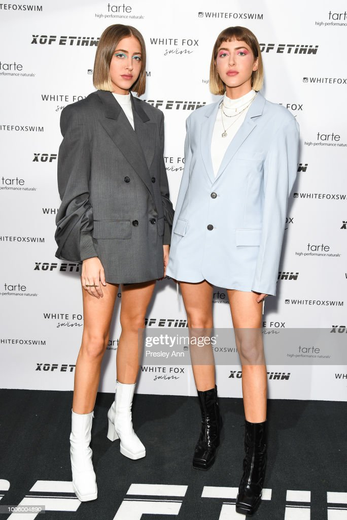 Simi Khadra and Haze Khadra attend White Fox Boutique Swimwear Launch Of 100% Salty at Catch on July 26, 2018 in West Hollywood, California.