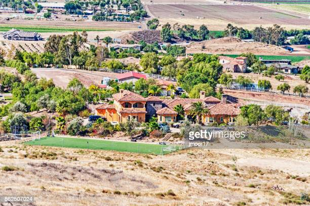 simi valley homes and farms from above - simi valley stock photos and pictures