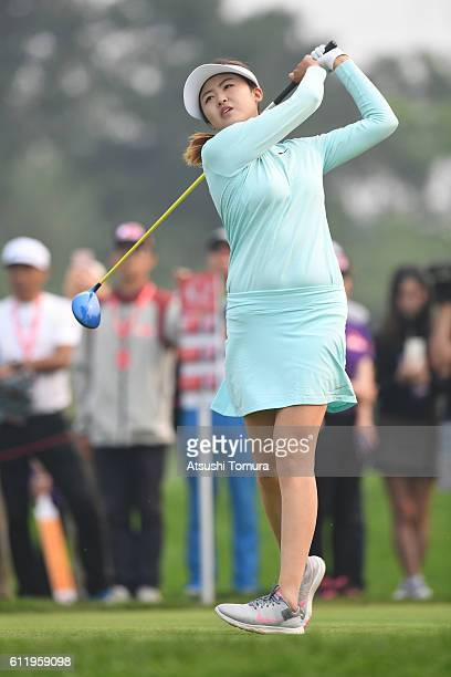 Simin Feng of China hits her tee shot on the 12th hole during the final round of the 2016 Reignwood LPGA Classic on October 2 2016 in Beijing China