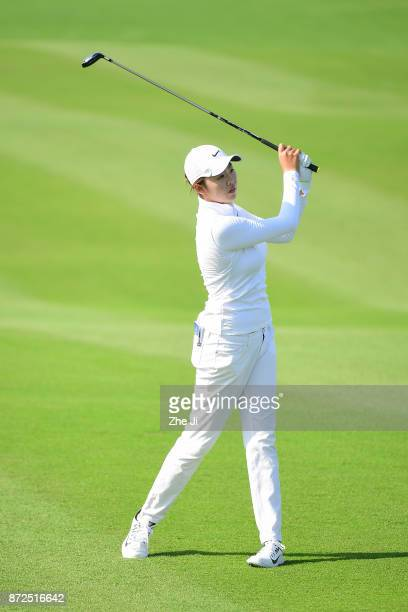 Simin Feng of China plays a shot on the 10th hole during the third round of the Blue Bay LPGA at Jian Lake Blue Bay golf course on November 10 2017...