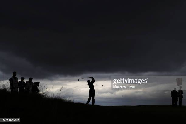 Simin Feng of the United States hits an approach shot during the second round of the Ricoh Women's British Open at Kingsbarns Golf Links on August 4...