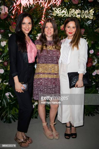 Simin Tander Jessica Weiss and Mina Tander attend the Journelles X She's Mercedes PreFashion Week Dinner In Berlinon July 1 2018 in Berlin Germany