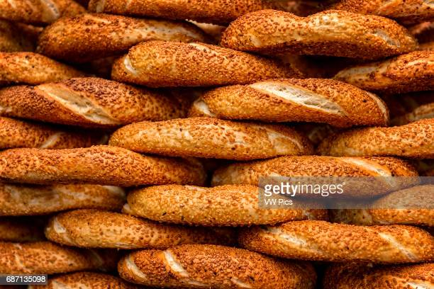 Simit is the most popular street food in Istanbul Turkey It is a circular bread decorated with sesame seeds