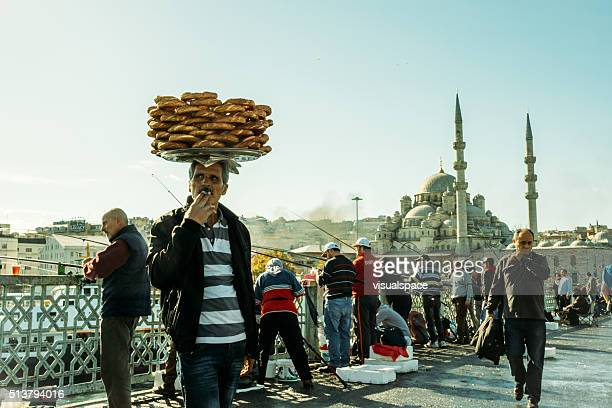 Simit Seller at the Galata bridge, Istanbul