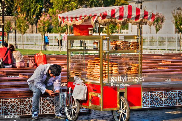 Simiti seller cart near Sultan Ahmed Mosque, Istanbul, Turkey
