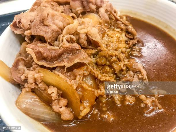 simmered beef and curry rice bowl close-up - yōshoku photos et images de collection