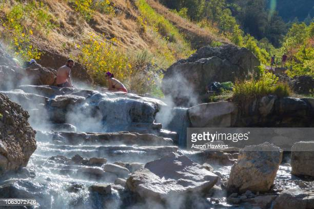 simmering in diamond fork hot springs - spanish fork utah stock pictures, royalty-free photos & images