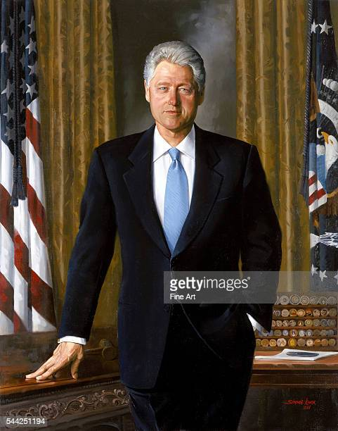 Simmie Knox official presidential portrait of President Bill Clinton oil on canvas White House collection