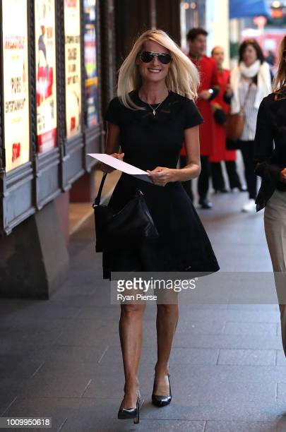 Simmone Logue partner of Harry MMiller attends the memorial service for Harry M Miller at Capitol Theatre on August 3 2018 in Sydney Australia