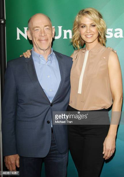 K Simmons and Jenna Elfman arrive at the NBC/Universal 2014 TCA Winter press tour held at The Langham Huntington Hotel and Spa on January 19 2014 in...