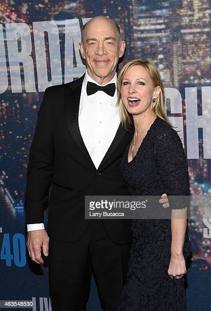 K Simmons and Michelle Schumacher attend SNL 40th Anniversary Celebration at Rockefeller Plaza on February 15 2015 in New York City