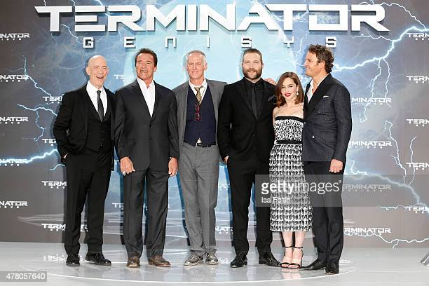 K Simmons Arnold Schwarzenegger Alan Taylor Jai Courtney Emilia Clarke andJason Clarke attend the European Premiere of 'Terminator Genisys' at the...