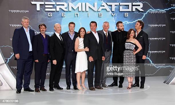 JK Simmons David Ellison Dana Goldberg Arnold Schwarzenegger Alan Taylor Jai Courtney Emilia Clarke and Jason Clarke attend the European Premiere of...