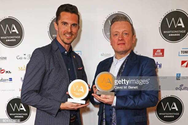Simon Adkins accepting the Best Costume Design award on behalf of Roger Kirk for '42nd Street' and Christopher Howell accepting the Best Set Design...